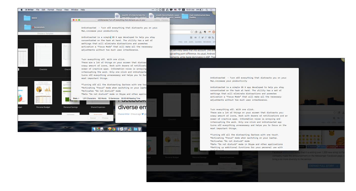 UnDistracted App Screenshot: Highlights the current working window